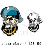 Clipart Of Angry Pirate Faces With Eye Patches 1 Royalty Free Vector Illustration