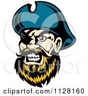 Clipart Of An Angry Pirate Face With A Blond Beard And Eye Patch Royalty Free Vector Illustration
