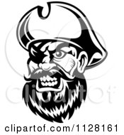 Clipart Of An Angry Black And White Pirate Face With An Eye Patch 1 Royalty Free Vector Illustration