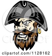 Clipart Of An Angry Pirate Face With A Brown Beard And Eye Patch Royalty Free Vector Illustration