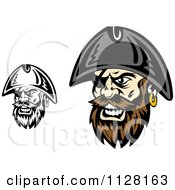 Clipart Of Angry Pirate Faces With Eye Patches 2 Royalty Free Vector Illustration
