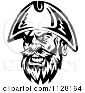 Clipart Of An Angry Black And White Pirate Face With An Eye Patch 2 Royalty Free Vector Illustration