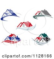 Clipart Of Houses And Roof Tops Royalty Free Vector Illustration