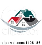 Clipart Of Houses With Roof Tops 9 Royalty Free Vector Illustration