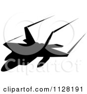 Clipart Of A Black Silhouetted Airplane And Contrails 2 Royalty Free Vector Illustration