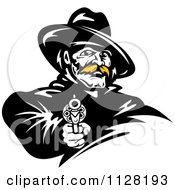 Clipart Of A Black And White Cowboy With A Blond Mustache Pointing A Pistol Royalty Free Vector Illustration