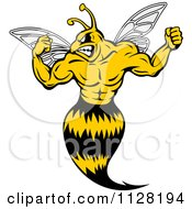 Clipart Of A Strong Yellow Jacket Flexing Royalty Free Vector Illustration by Vector Tradition SM