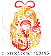 Clipart Of A Red Orange And Yellow Floral Easter Egg Royalty Free Vector Illustration