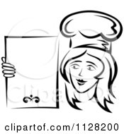 Black And White Female Chef Holding A Menu Board 2