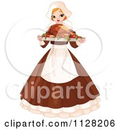 Cartoon Of A Thanksgiving Pilgrim Woman Serving A Roasted Turkey Royalty Free Vector Clipart