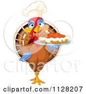 Cartoon Of A Cute Chef Turkey Bird Serving A Thanksgiving Pumpkin Pie Royalty Free Vector Clipart
