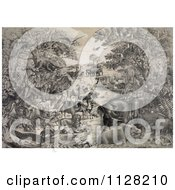 Clipart Of Animals Gathered On A River Prior To Boarding Noahs Ark Royalty Free Historical Illustration by JVPD