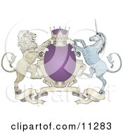 Purple Crown Lion And Blue Unicorn On A Coat Of Arms Clipart Illustration