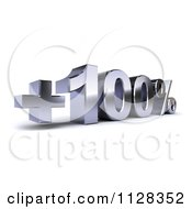 Clipart Of A 3d Silver One Hundred Percent Increase Interest Rate Royalty Free CGI Illustration