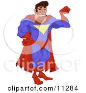 Man In A Red And Blue Super Hero Costume Smiling And Flexing His Arm Muscle Clipart Illustration