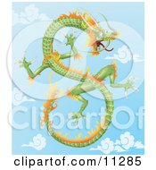 Green And Orange Chinese Dragon Flying In The Sky Clipart Illustration by AtStockIllustration