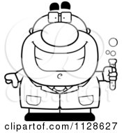 Cartoon Clipart Of An Outlined Pudgy Male Scientist Holding A Test Tube Black And White Vector Coloring Page