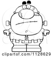 Cartoon Clipart Of An Outlined Nervous Pudgy Frankenstein Black And White Vector Coloring Page by Cory Thoman