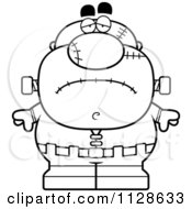 Cartoon Clipart Of An Outlined Depressed Pudgy Frankenstein Black And White Vector Coloring Page by Cory Thoman
