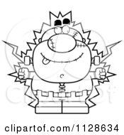 Cartoon Clipart Of An Outlined Pudgy Frankenstein Getting Shocked Black And White Vector Coloring Page