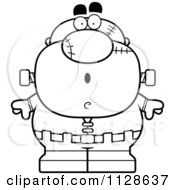 Cartoon Clipart Of An Outlined Surprised Pudgy Frankenstein Black And White Vector Coloring Page by Cory Thoman