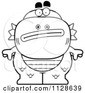 Cartoon Clipart Of An Outlined Nervous Fish Man Monster Black And White Vector Coloring Page by Cory Thoman