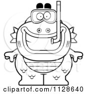 Cartoon Clipart Of An Outlined Fish Man Monster With Snorkel Gear Black And White Vector Coloring Page by Cory Thoman