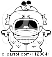 Cartoon Clipart Of An Outlined Scared Fish Man Monster Black And White Vector Coloring Page by Cory Thoman
