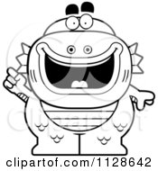 Cartoon Clipart Of An Outlined Fish Man Monster With An Idea Black And White Vector Coloring Page by Cory Thoman
