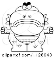 Cartoon Clipart Of An Outlined Angry Fish Man Monster Black And White Vector Coloring Page by Cory Thoman