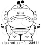 Cartoon Clipart Of An Outlined Depressed Fish Man Monster Black And White Vector Coloring Page by Cory Thoman