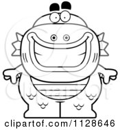 Cartoon Clipart Of An Outlined Happy Fish Man Monster Black And White Vector Coloring Page by Cory Thoman