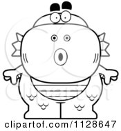 Cartoon Clipart Of An Outlined Surprised Fish Man Monster Black And White Vector Coloring Page by Cory Thoman