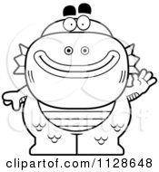 Cartoon Clipart Of An Outlined Waving Fish Man Monster Black And White Vector Coloring Page by Cory Thoman