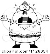 Cartoon Clipart Of An Outlined Frightened Halloween Zombie Black And White Vector Coloring Page