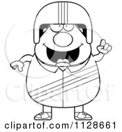 Cartoon Clipart Of An Outlined Race Car Driver With An Idea Black And White Vector Coloring Page by Cory Thoman