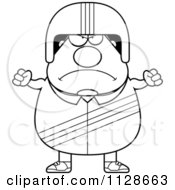 Cartoon Clipart Of An Outlined Angry Race Car Driver Black And White Vector Coloring Page