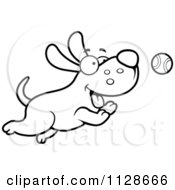 Cartoon Clipart Of An Outlined Happy Dog Chasing A Tennis Ball Black And White Vector Coloring Page