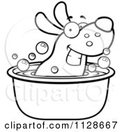 Cartoon Clipart Of An Outlined Happy Dog Soaking In A Tub Black And White Vector Coloring Page