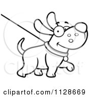 Cartoon Clipart Of An Outlined Happy Dog Being Washed On A Leash Black And White Vector Coloring Page