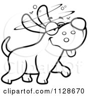 Cartoon Clipart Of An Outlined Stupid Or Drunk Dog Black And White Vector Coloring Page