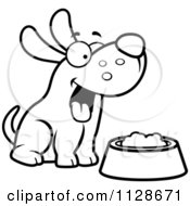 Cartoon Clipart Of An Outlined Happy Dog With A Bowl Of Food Black And White Vector Coloring Page