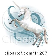 Pretty White Unicorn Rearing Up On Its Hind Legs Clipart Illustration