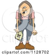 Cartoon Of A Redneck Hillbilly Woman With Braids Royalty Free Vector Clipart by Dennis Cox