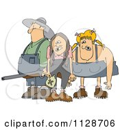 Cartoon Of A Redneck Hillbilly Man With A Shotgun And Women Royalty Free Vector Clipart by djart