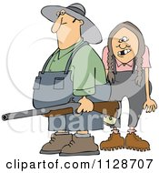 Cartoon Of A Redneck Hillbilly Man And Woman With A Shotgun Royalty Free Vector Clipart