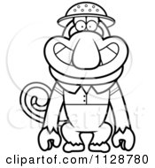 Cartoon Clipart Of An Outlined Proboscis Monkey Explorer Black And White Vector Coloring Page