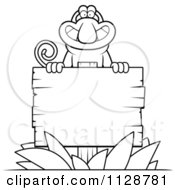 Cartoon Clipart Of An Outlined Proboscis Monkey Behind A Wooden Sign Black And White Vector Coloring Page by Cory Thoman
