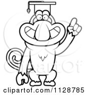 Cartoon Clipart Of An Outlined Proboscis Monkey Professor Wearing A Cap Black And White Vector Coloring Page by Cory Thoman