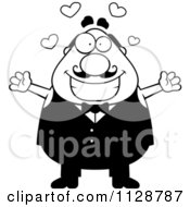 Cartoon Clipart Of A Black And White Happy Chubby Male Waiter Wanting A Hug Vector Clipart by Cory Thoman
